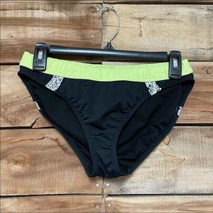 Bikini bottoms athleta black & green medium